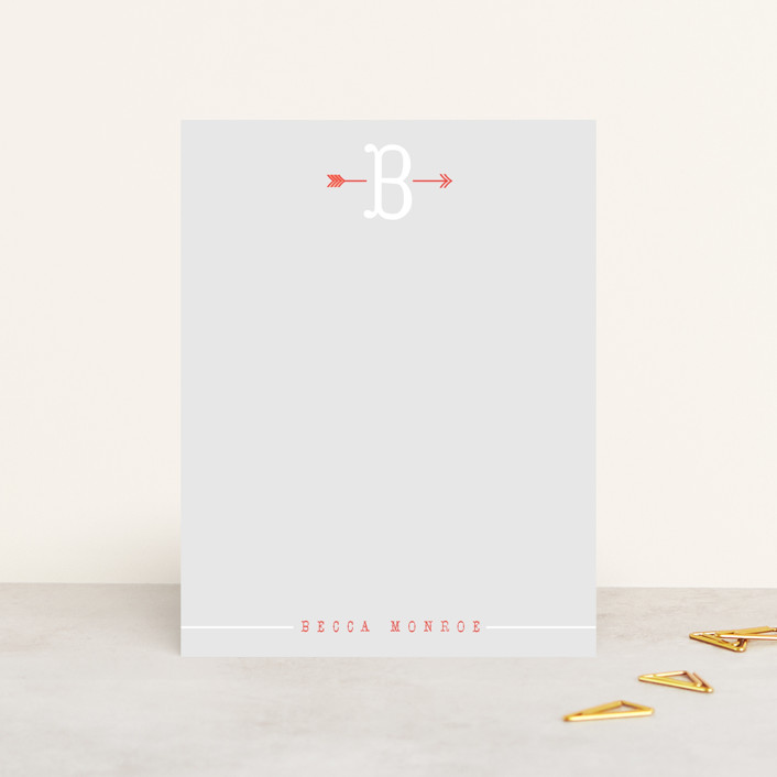 """Arrowhead"" - Simple, Vintage Personalized Stationery in Cherry by Up Up Creative."