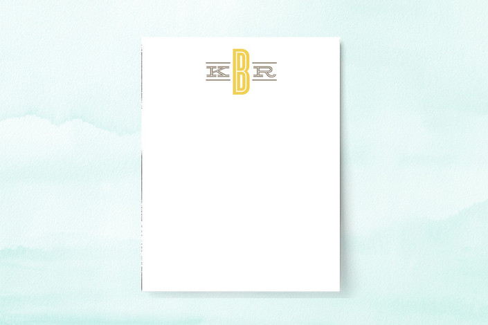 """Classic Monogram"" - Monogrammed, Modern Personalized Stationery in Sunflower by Griffinbell Paper Co.."