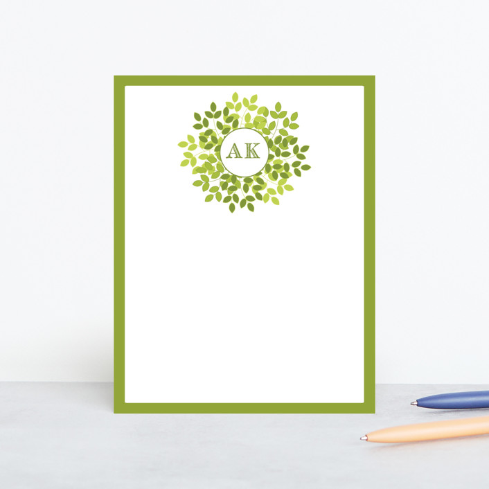 """Wreath in Green"" - Floral & Botanical, Classical Personalized Stationery in Lime by LollieJ."