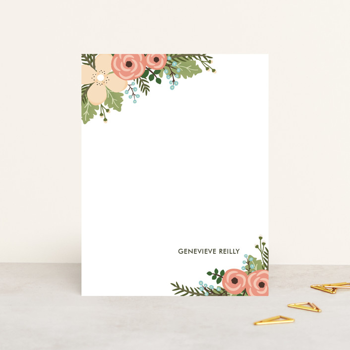 """""""Posey Blush"""" - Vintage, Floral & Botanical Personalized Stationery in Peach by Lawren Ussery."""
