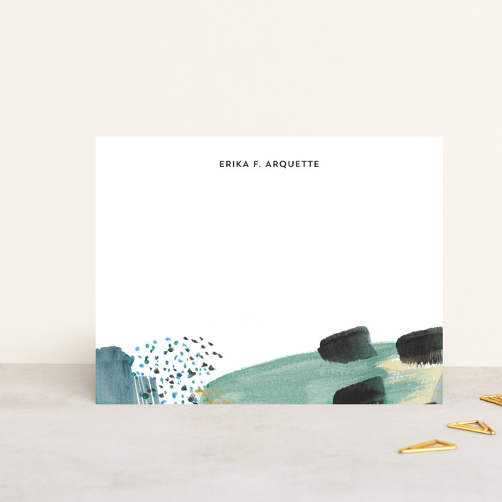 """""""Abstract Savannah Georgia"""" - Modern Personalized Stationery in Seafoam by Erika Firm."""