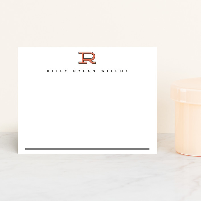 """""""Classic Initial"""" - Modern, Simple Personalized Stationery in Rust by Erica Krystek."""