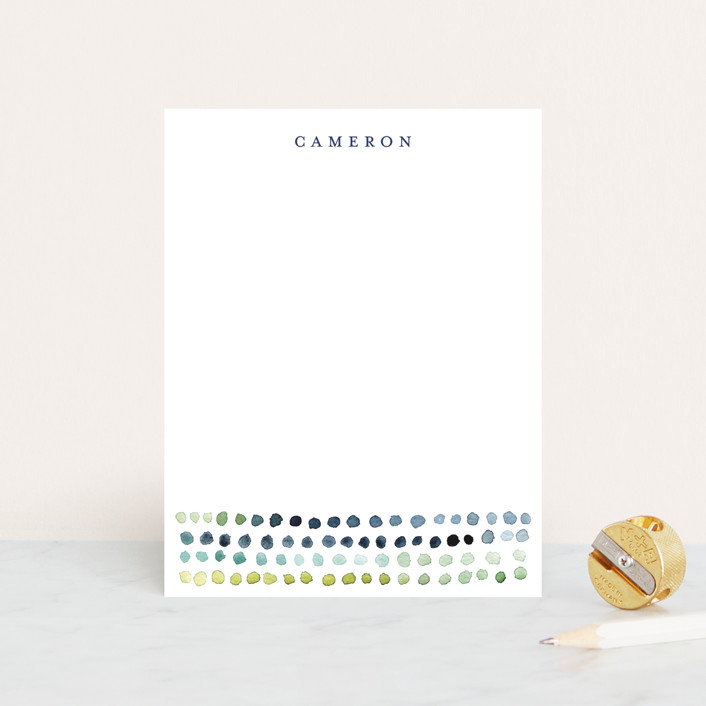 """Watercolor Dots"" - Simple Personalized Stationery in Navy by Loren Willis."