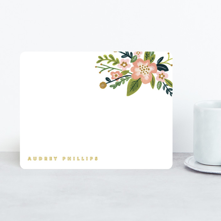 """""""Audrey"""" - Modern, Floral & Botanical Personalized Stationery in Coral by Moglea."""