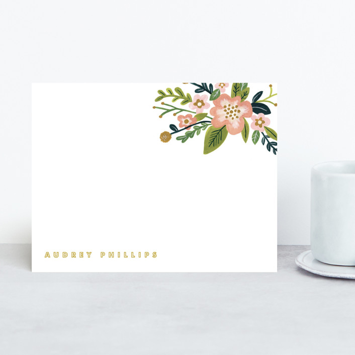 """Audrey"" - Modern, Floral & Botanical Personalized Stationery in Coral by Moglea."