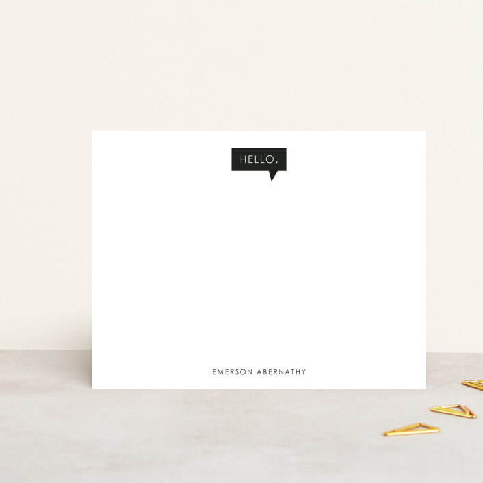 """Conversation Starter"" - Modern, Simple Personalized Stationery in Onyx by Linda Misiura."