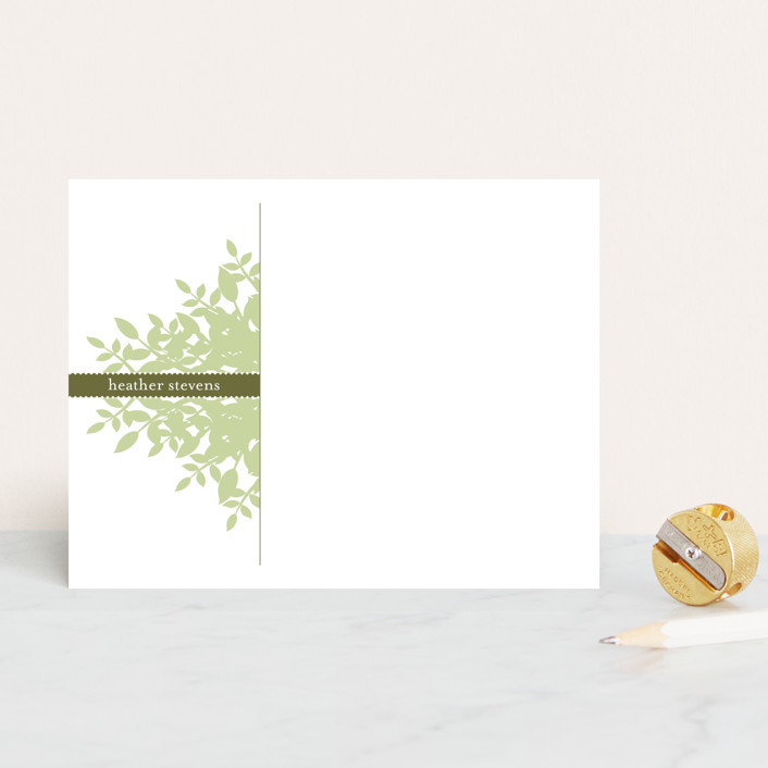 """Leafy"" - Floral & Botanical Personalized Stationery in Avocado by SD Design."