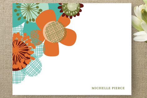 Retro Floral Personalized Stationery