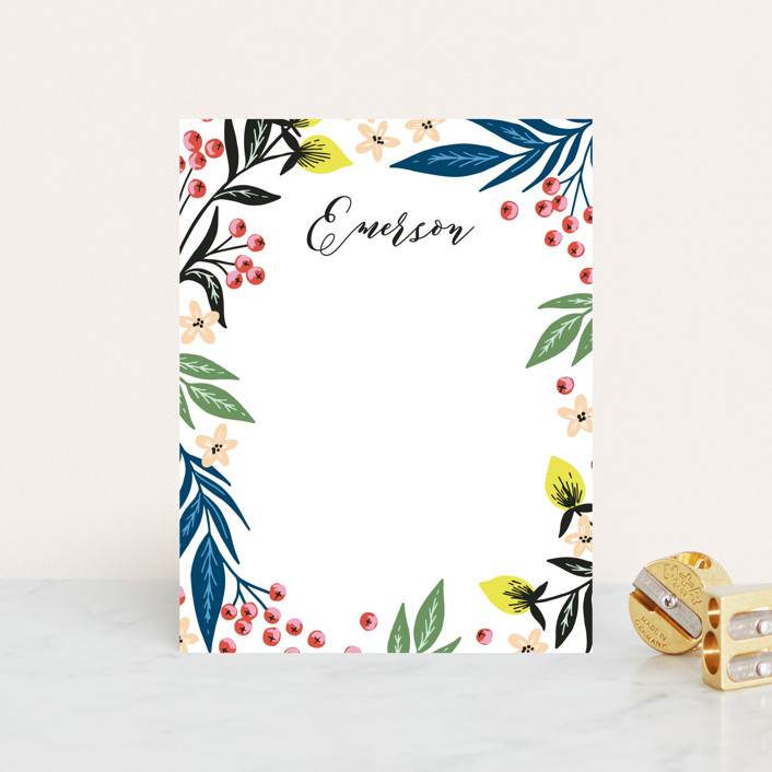 """Berry Vines"" - Personalized Stationery in Bluebell by Alethea and Ruth."
