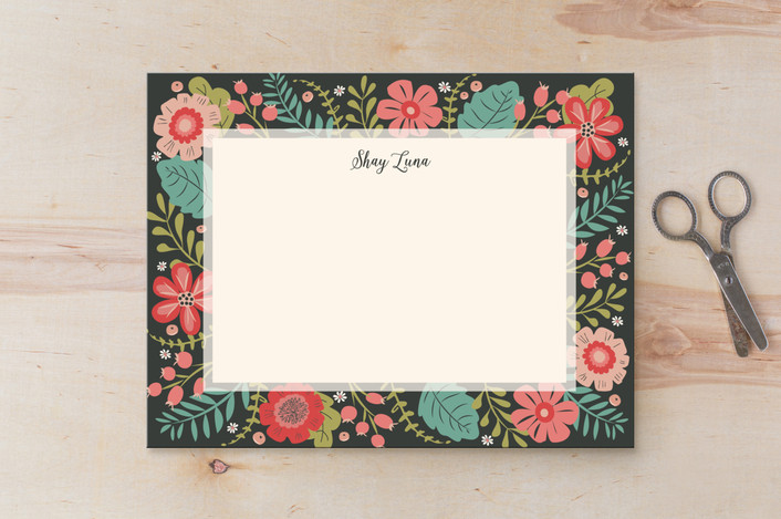 """Flowers Everywhere"" - Floral & Botanical Personalized Stationery in Seagreen by Susan Moyal."