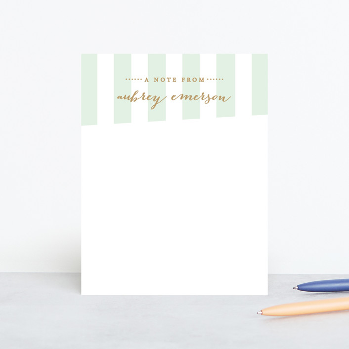 """""""Gilded Stripe"""" - Classical Personalized Stationery in Mint by Sara Heilwagen."""