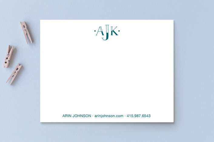 """Graphic Monogram"" - Monogrammed Personalized Stationery in Denim by Cindy Lackey."