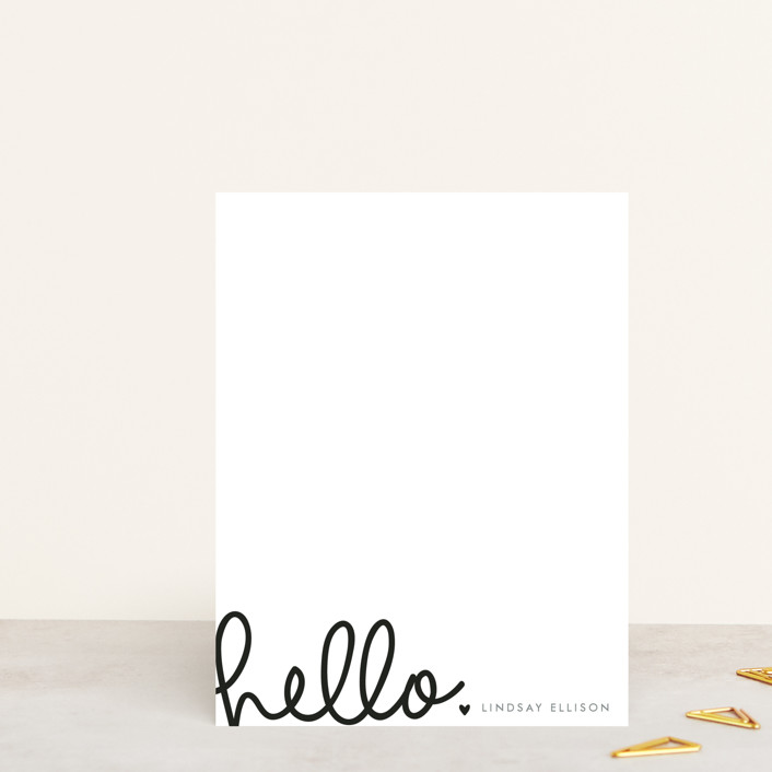 """Handwritten Hello"" - Bold typographic, Simple Personalized Stationery in Midnight by Bethan."