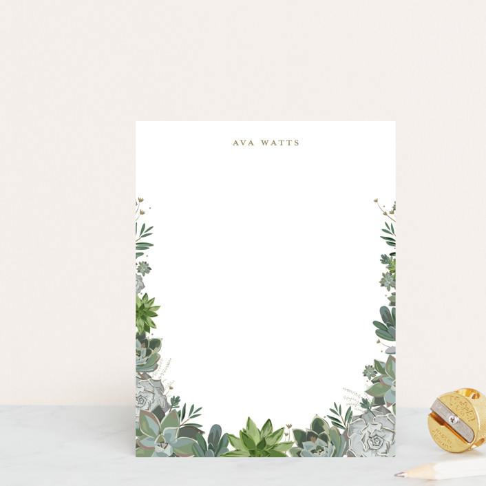 """Climbing Succulents"" - Personalized Stationery in Powder by Susan Moyal."