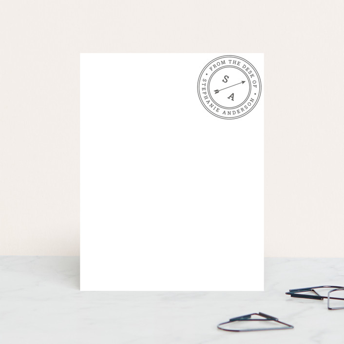 """Self Stamped"" - Personalized Stationery in Stone by Snow and Ivy."