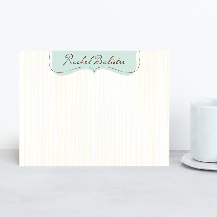 """easy elegance"" - Classical, Traditional Personalized Stationery in Mint Dust by Carrie ONeal."