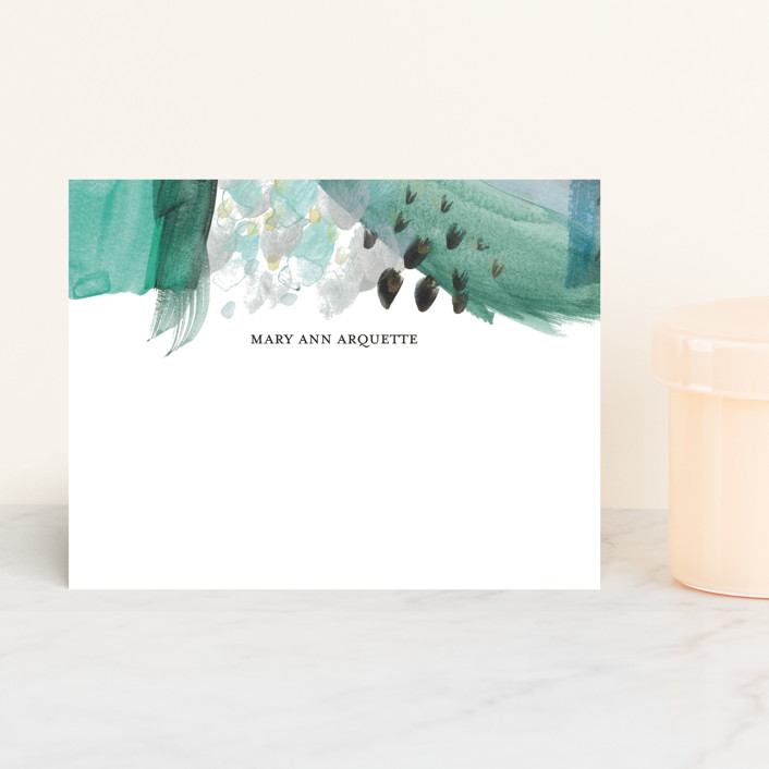 """Abstract Midnight"" - Personalized Stationery in Porcelain by Erika Firm."