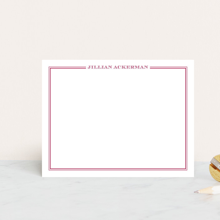 """""""the lady"""" - Classical, Traditional Personalized Stationery in Fuchsia Rose by The Social Type."""