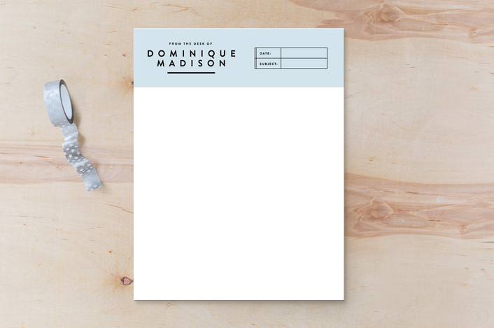 """Modern Madison"" - Modern Personalized Stationery in Powder Blue by Rebekah Cuff."
