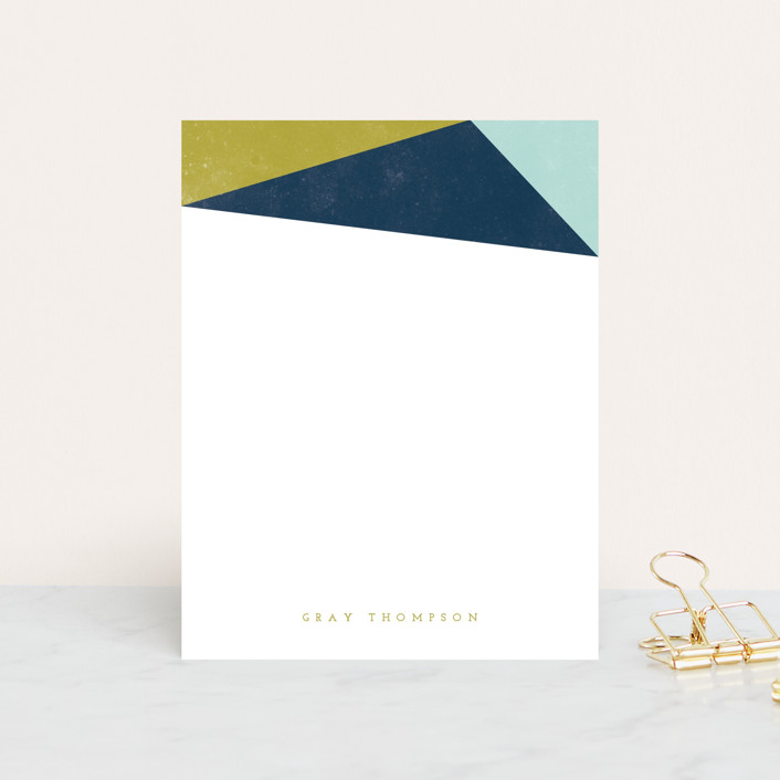 """Simple Abstract"" - Modern Personalized Stationery in Chartreuse by peony papeterie."