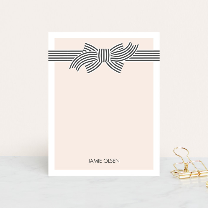 """Striped Bow"" - Vintage, Modern Personalized Stationery in Latte by Sam Dubeau."