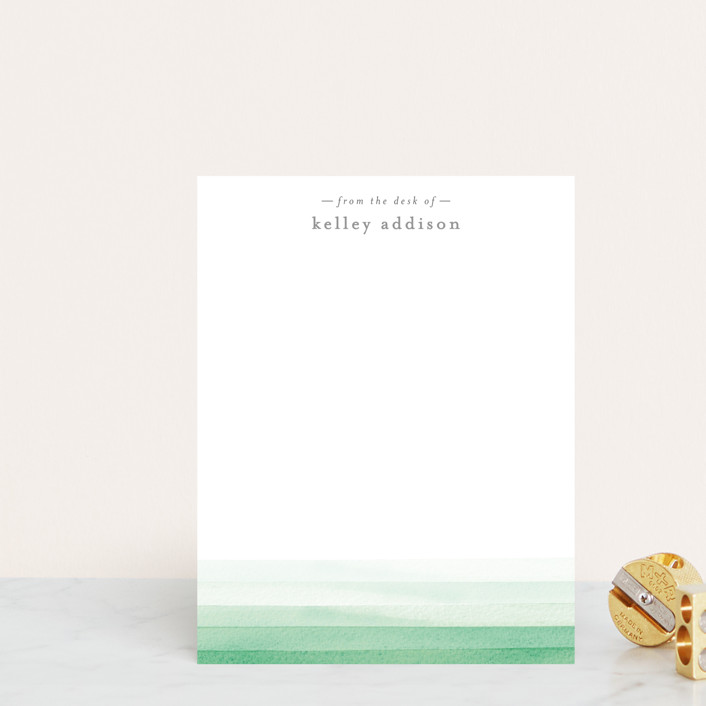 """Watercolour Wash"" - Modern Personalized Stationery in Sage by Bethan."