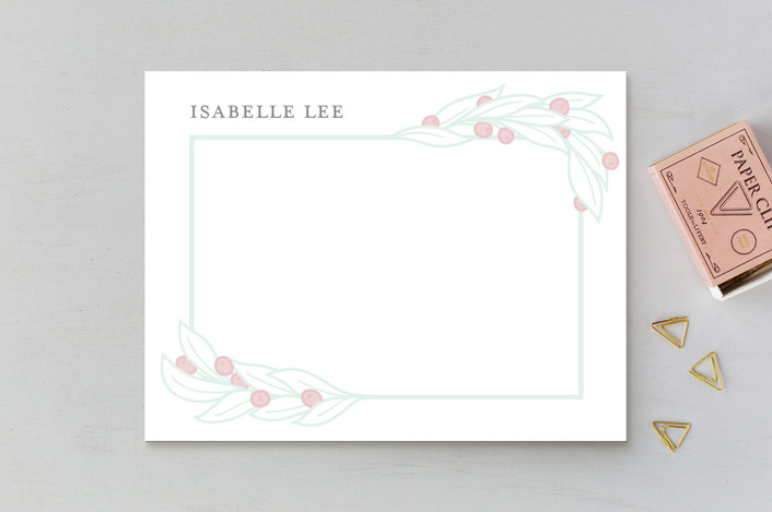 """Botanical Frame"" - Personalized Stationery in Frost by Liz Conley."