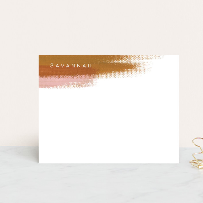 """""""Painterly"""" - Modern, Rustic Personalized Stationery in Terracotta by Kelly Stewart."""