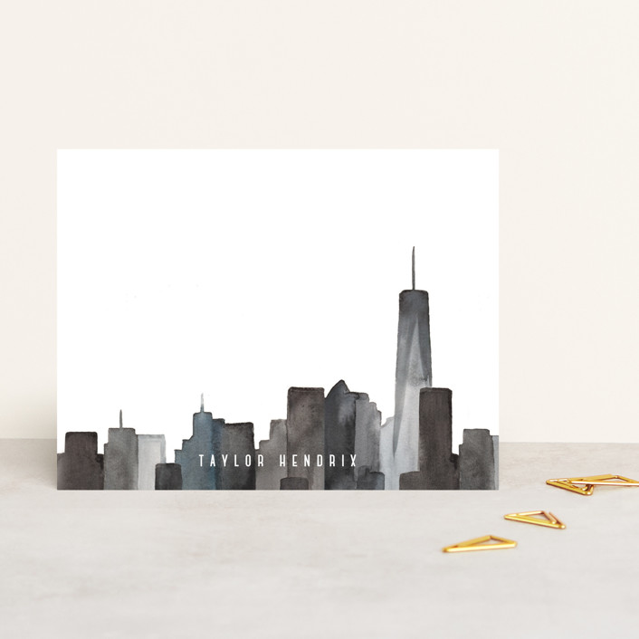 """NY State of Mind"" - Modern Personalized Stationery in Night by Pink House Press."
