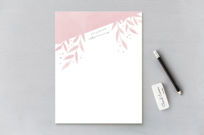 """Watercolor Leaves"" - Personalized Stationery in Guava by Four Wet Feet Studio."