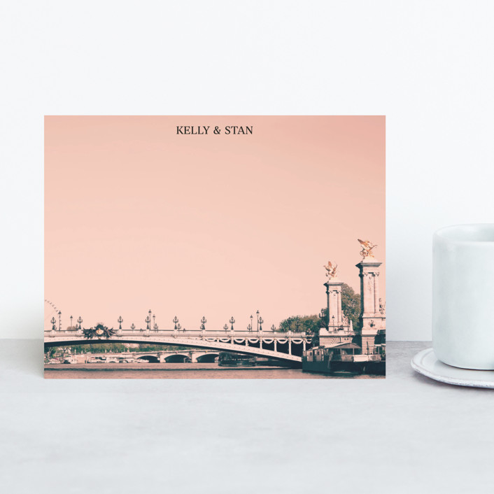 """Pink Pont Alexandre"" - Personalized Stationery in Coral by Caroline Mint."