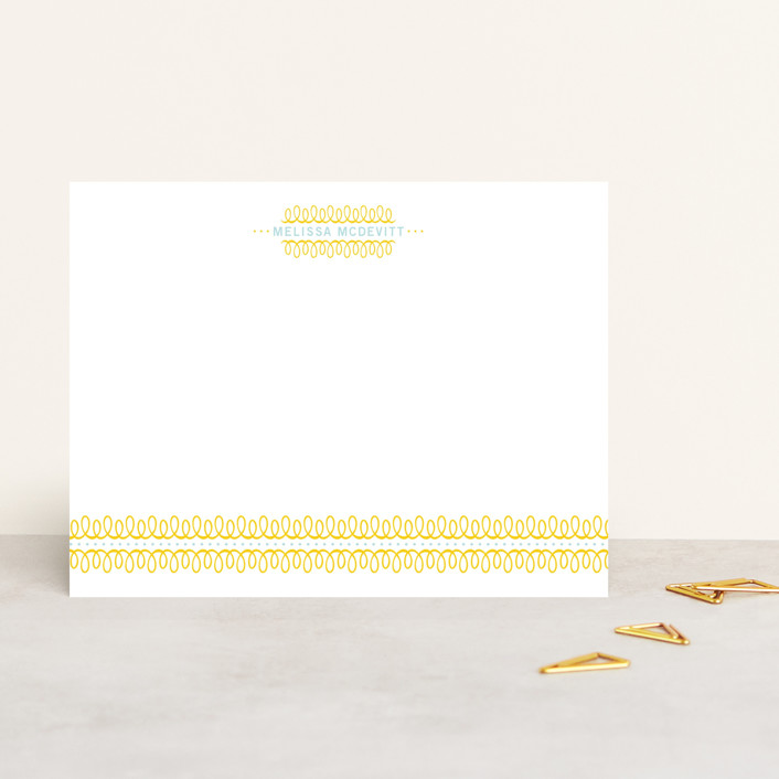 """lovely swirls"" - Classical, Traditional Personalized Stationery in Yellow by someone loves dean."