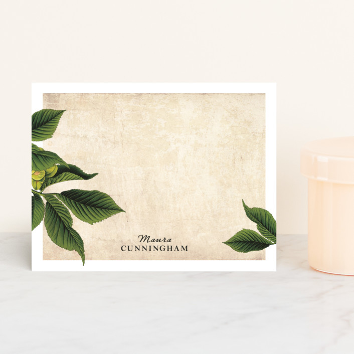 """""""maura"""" - Floral & Botanical, Vintage Personalized Stationery in Fern by Paper Plains."""