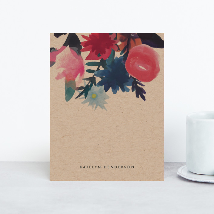 """""""Floral Bouquet"""" - Personalized Stationery in Kraft by Baumbirdy."""