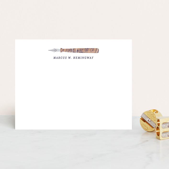 """""""Novel Writer"""" - Modern, Preppy Personalized Stationery in Terracotta by Jan Shepherd."""