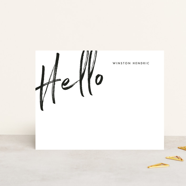 """Big Hello"" - Personalized Stationery in Coal by Baumbirdy."