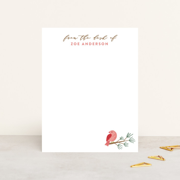 """""""Tranquil Bird"""" - Personalized Stationery in Snow by curiouszhi design."""