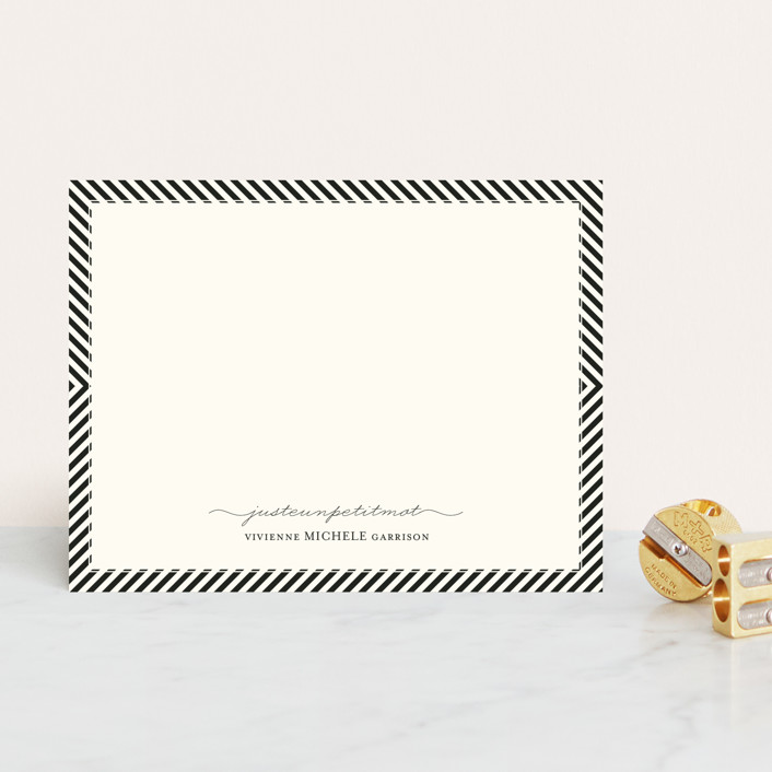 """Paris + From Stripes to Chevrons"" - Modern, Minimalist Personalized Stationery in Vanilla by Emily Ranneby."