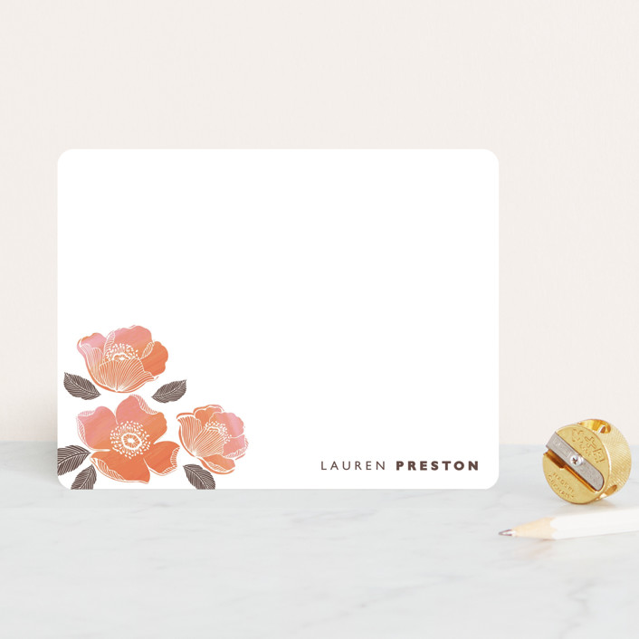 """English rose"" - Floral & Botanical, Minimalist Personalized Stationery in Peach by Coco and Ellie Design."