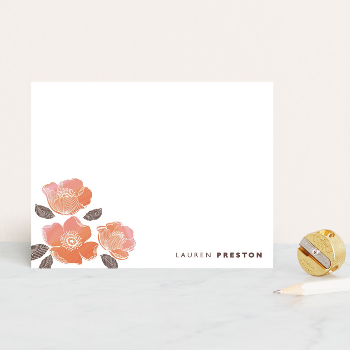 """English rose"" - Floral & Botanical, Minimalist Personalized Stationery in Peach by Coco and Ellie."