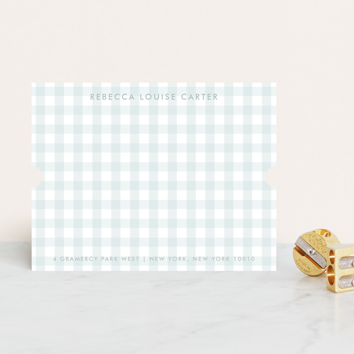 """Gramercy"" - Classical, Preppy Personalized Stationery in Powder Blue by The Social Type."