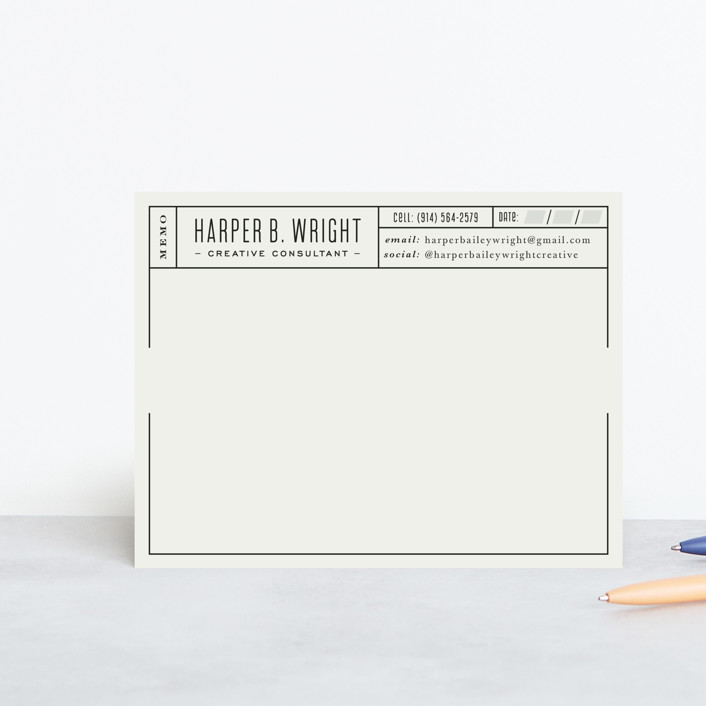 """Perfect Grid"" - Traditional Personalized Stationery in Ivory by Hooray Creative."