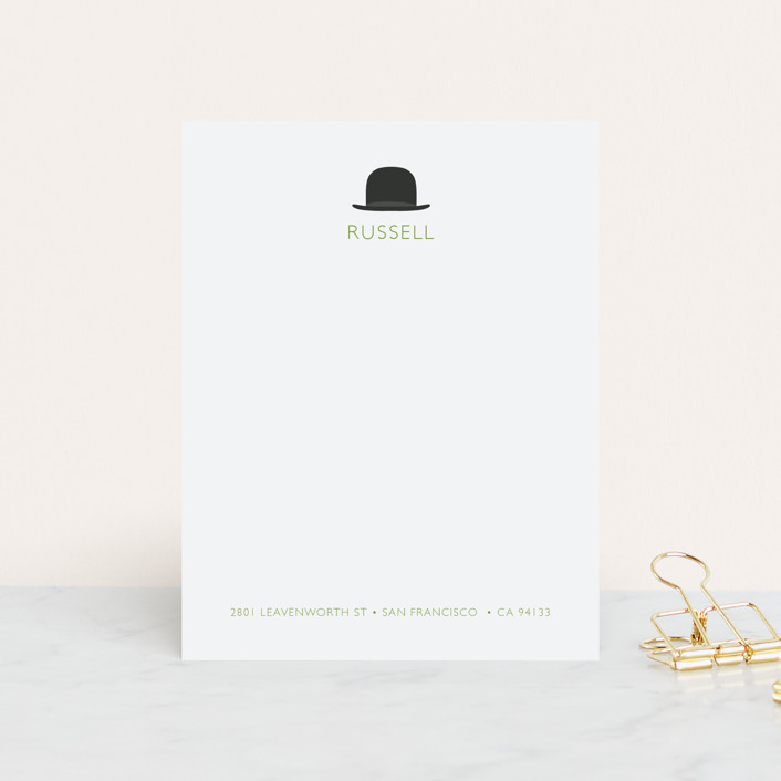 """Top Hat"" - Simple, Minimalist Personalized Stationery in Lime by SimpleTe Design."