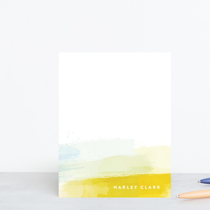 """Brushed Up"" - Modern Personalized Stationery in Sun by Hooray Creative."