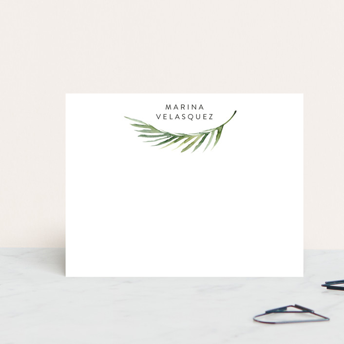 """Simple Palm"" - Personalized Stationery in Powder by Lissabeth Anglin."