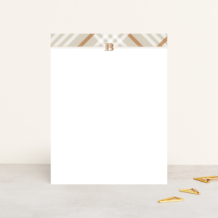 """""""stadium"""" - Preppy, Monogrammed Personalized Stationery in Pecan by Toast & Laurel."""