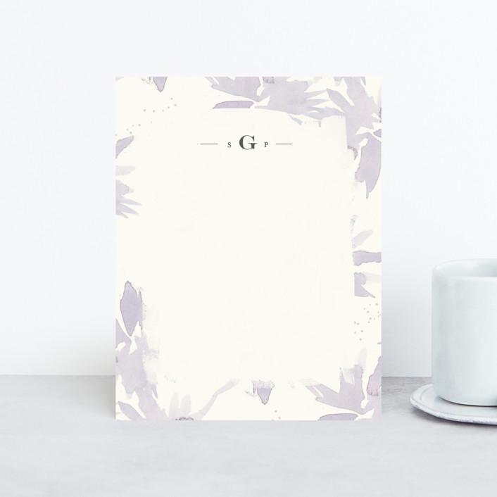 """Pretty Florals"" - Floral & Botanical, Monogrammed Personalized Stationery in Lavender by Lori Wemple."