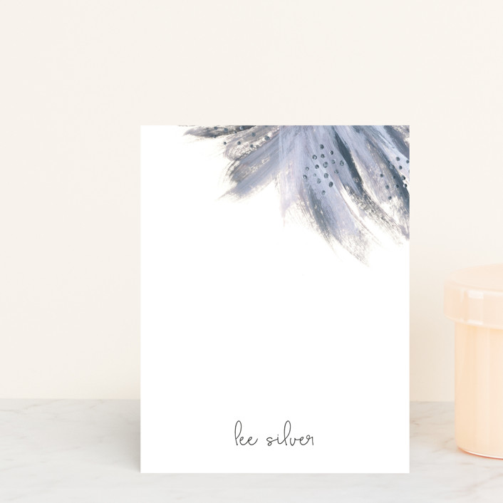 """Shining Statement"" - Floral & Botanical Personalized Stationery in Periwinkle by Simona Camp."
