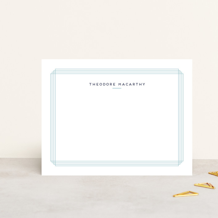 """""""Spumante"""" - Modern, Minimalist Personalized Stationery in Teal by chocomocacino."""