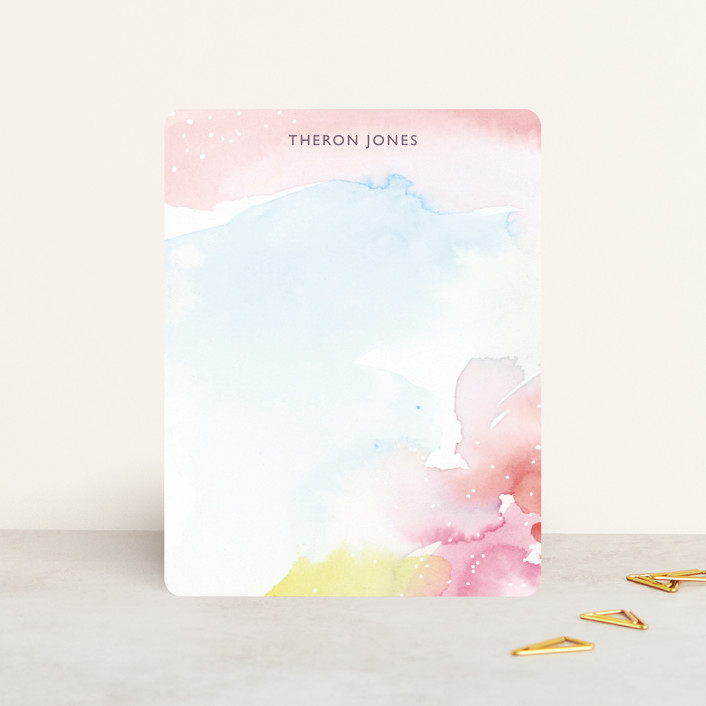"""""""Watercolor Burst"""" - Whimsical & Funny Personalized Stationery in Cotton Candy by Lindsay Megahed."""